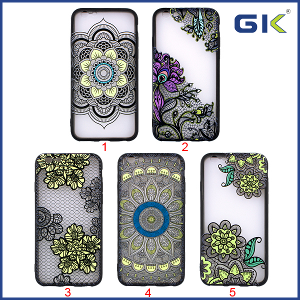 [GGIT] New Colorful 3D Relief National Style Matte TPU+PC Back Cover For IPhone 6 Cell Phone Case