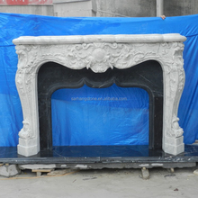 Natural Carved Louis Luxury Mantels Italian Large White Stone Marble Fireplace Mantel Carving Mental for Sale