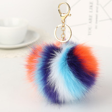Faux Fox Fur Fuzzy Ball pendant fashion fake plush Bag ornament Key Chain Bag charm
