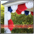 Red white and blue Hanging tissue paper fans party decoration
