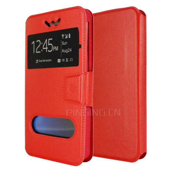 Wholesale 4.7 5 5.5 inch universal pu leather case dualview window stand flip cover for innjoo max 3