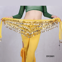 SEXY BELLY DANCE CHIFFON GOLD COINS HIP SCARF DY2001