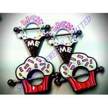 Ice Cream Cupcake Cone Hoop 316L Stainless Steel Nipple Shield Ring Bar Barbell Piercing Body Jewelry Fashion New 2015