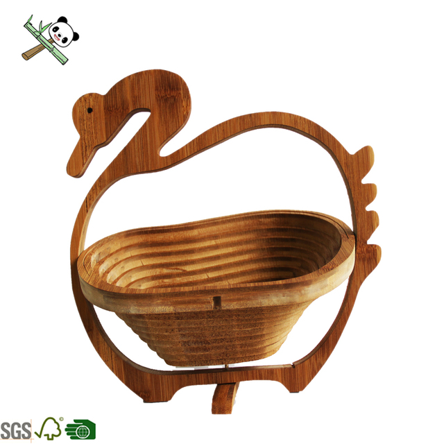 apple Shape Rotatable Bamboo Folding Fruit Basket Top Selling Food Grade Cheap Price