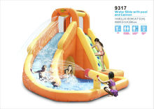 2014 New Design Inflatable Water Slide and Pool with Cannon-9317 Water Slide Park