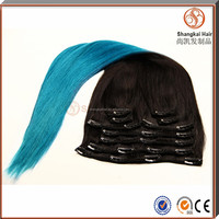 Colored 1B Light Blue Two Tone Ombre Hair Clip In Hair Extensions