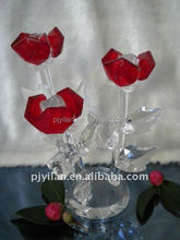 elegent red natural crystal flower