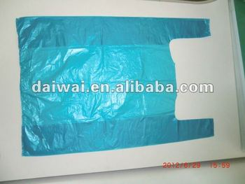 Blue color plastic t shirt bag with embossing plastic bags for Plastic shirt bags wholesale