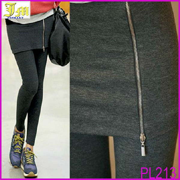 2014 New Women's Sexy Skirt Leggings Fashion Stretch Skinny Pencil Pants Casual Wear Women zipper Slim Leggings