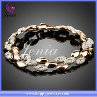 New unique design flower shaped 18k gold plated with sunshine crystal trendy bracelet 2014 (PH033)