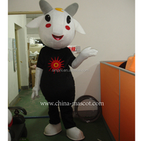 Cute white goat sheep Mutton Jumbuck mascot costume adult size with long white ears round black eyes