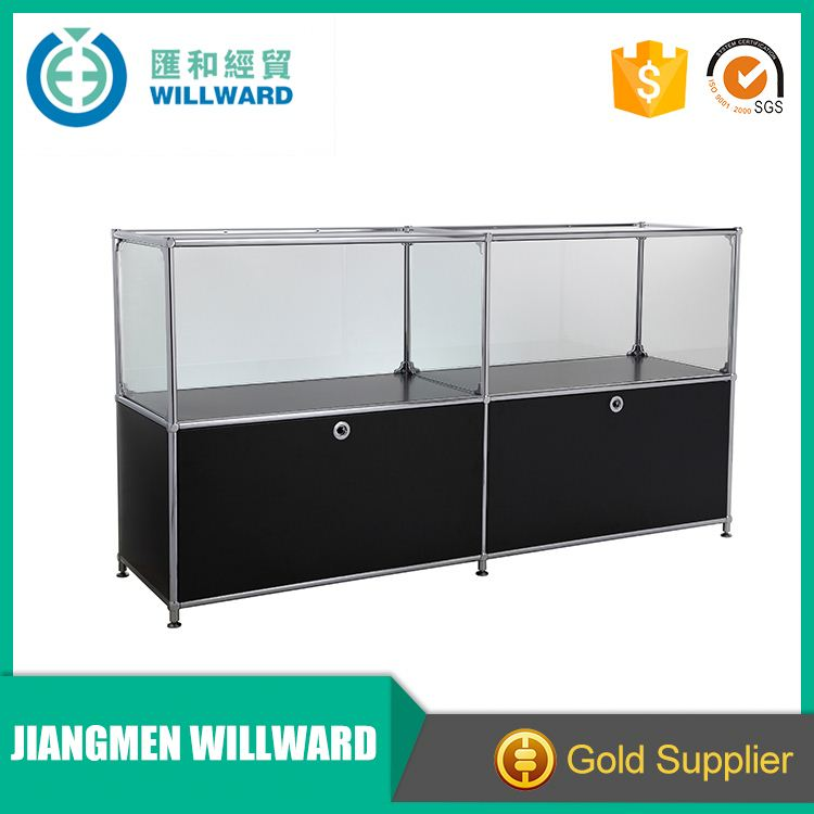 Black shop used frame showcase counter retail steel glass cabinets