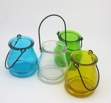 4 Inch Long-stemmed Tall Glass Votive Candle Holders with Handle