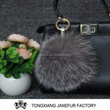 Hot sale colorful genuine fox fur ball krychain lastest animal pom pon
