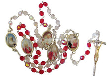 Blessed By Pope Francis St John Paul II Red & Clear Glass Beads Rosary FREE Prayer Card with Heat Sealed Medal