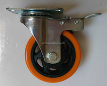 Double ball bearing PU/PVC caster wheel,Industrial heavy duty swivel caster wheel,Universal casters with brake
