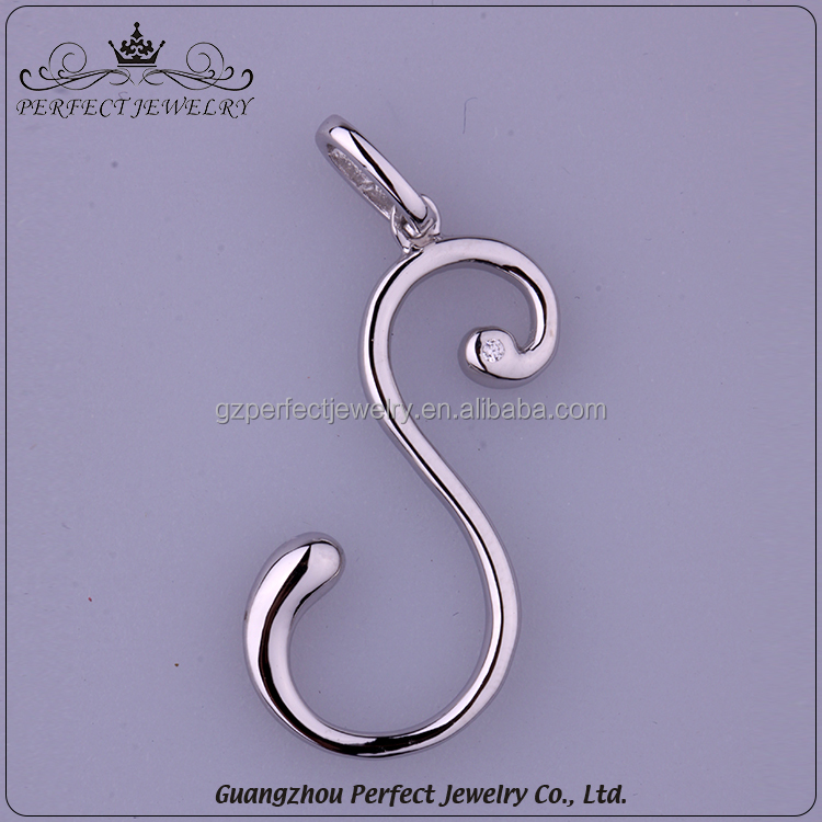 Hot Selling Fashion Luxurious Newly Design Simple 925 Sterling Silver S Shape Necklace Pendant