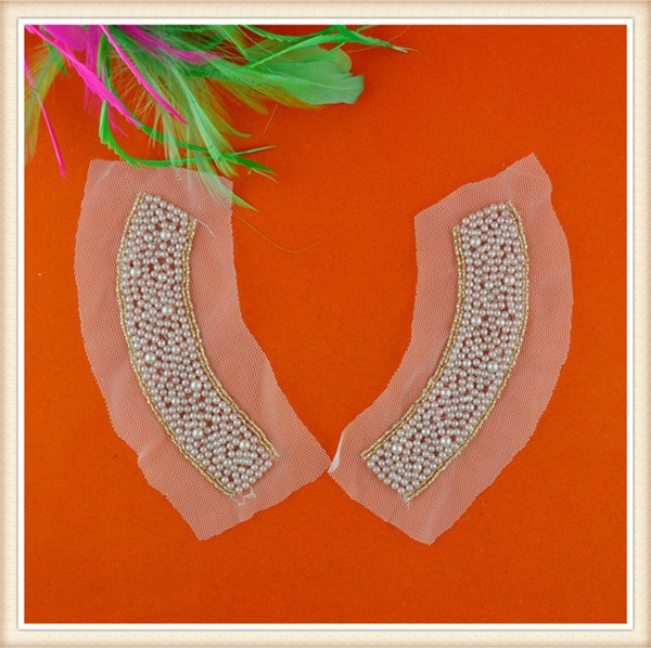 high quality ,pearl beaded applique sewing stones on clothes for garment / decoration /neckline/ dress