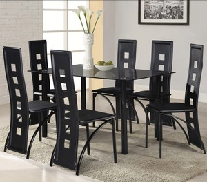New style Metal Table and Chairs Glass Dining Table Set