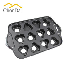 Carbon Steel Non-stick Deluxe Mini Cheesecake Pan Cupcake Pan Heart Shape with Pop-out Base CD-T1207
