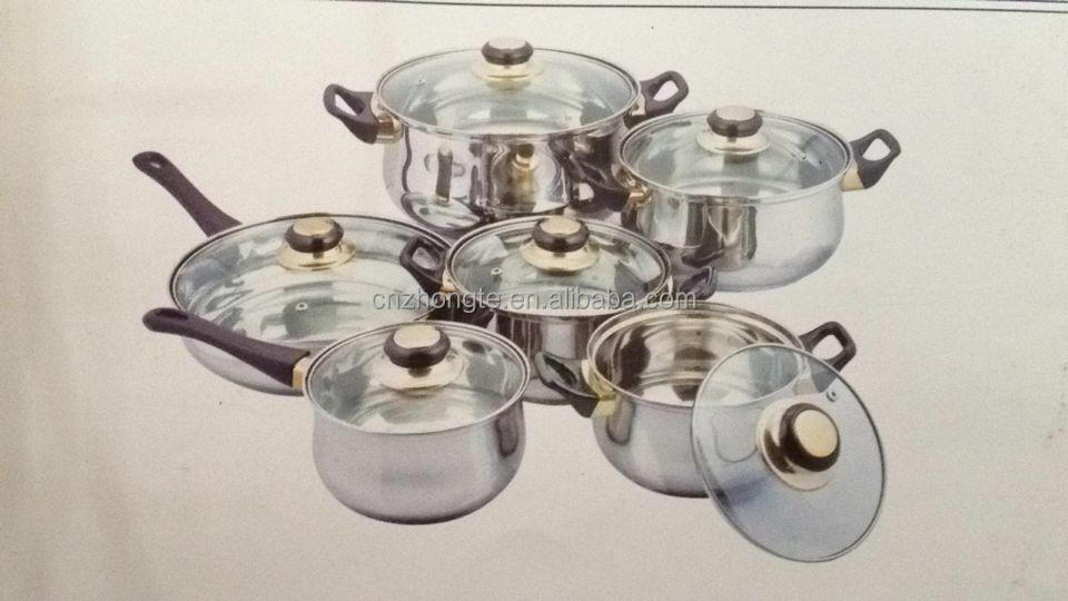 Hot sale stainless steel manufacturer kitchenware 12pcs cookware set