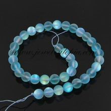 SP0748 China Cheap Light Blue Frosted Imitated Opal Glass Round Beads For Sale