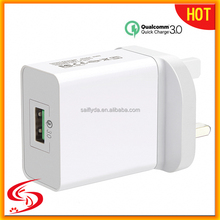 FCC CE Rohs Certificate 3-6V / 6-9V / 9-12V 3A new arrival Qualcomm Quick Wall Charge 3.0 USB Smart Travel Charger