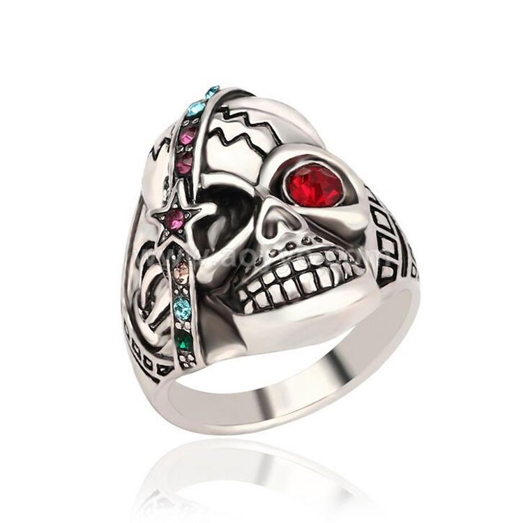 Wholesale pentagram red eye diamond ornament crystal exaggerated personality men and women jewelry lovers skull ring
