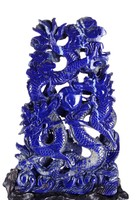 Natural Lapis Lazuli Double Dragons Playing Ball Carving