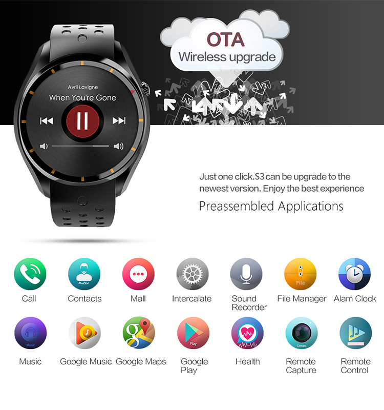400*400 Resolution MTK6580 8GB Memory Sport GPS Tracking Smart Watch Android
