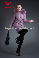 2014 Latest Real Fur High Quality Winter Shiny Fashion European Style Classic Women Winter Bulk Designer Clothing