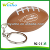 PU squeeze American football shaped foam sponge anti-stress reliever ball Keyring Keychain key tag promotional gifts