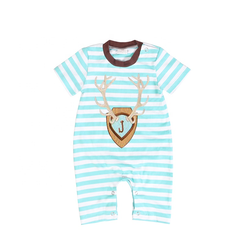 Short Sleeve Stripe Sika Deer Appliqued Baby Boy Summer Stripe Romper