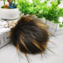 Factory Wholesale Custom Faux Fur Ball Pop Pompom Keychain for Bag Charm