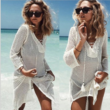 Women's See Through Mesh Beach Cover Ups Bikini Swimwear Three Quarter Lace Crochet Bathing Suit Warp Dresses