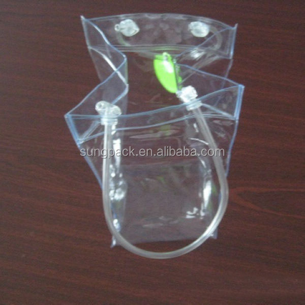 High quality Clear custom pvc wine bottle bags with handle