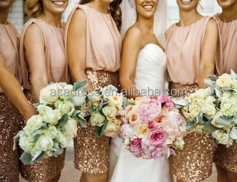 BD08 Top Crop Bling Bling Prom Dress Gold Chiffon Sequined Peach Bridesmaid Dress Patterns