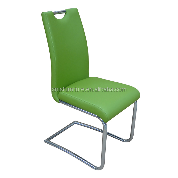Simple design chromed metal leg covered fire-proof PU dining chair