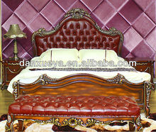 European antique wooden carving bedroom furniture leather bed TH01#