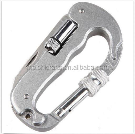 4 in 1 Multi-function Carabiner Multi-Tool Knife Saw LED Flashlight for Outdoor