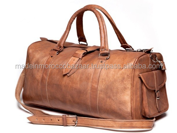 Stylish Handmade Genuine Leather Duffle Travel Bag