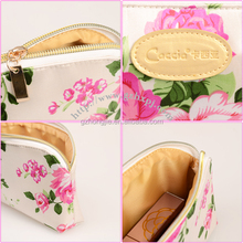China OEM factory organize satin fabric cosmetic bag fashion printed custom makeup toiletries bag