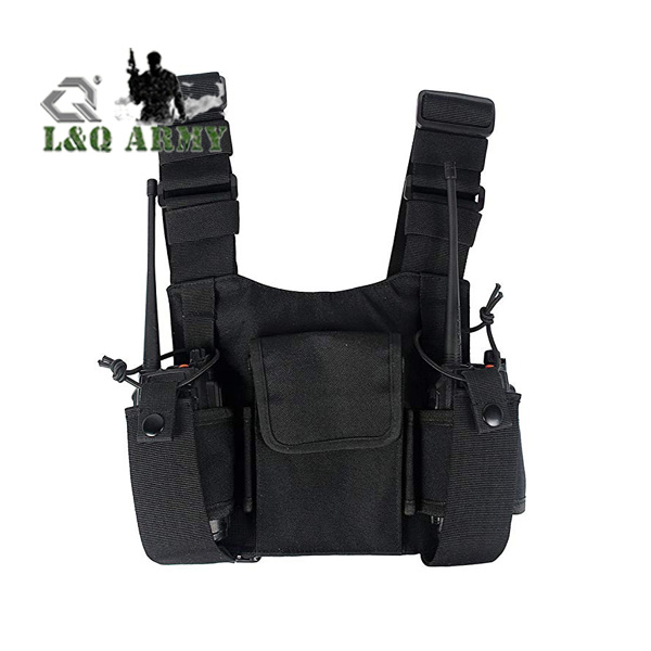 Black Radio Carry Case Chest Pocket chest rig Universal Bag Holster for Two Way Radio