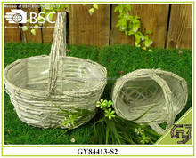 BSCI white-wash wild wicker garden flower baskets