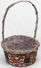 BROWN WASH ROUND BAMBOO CHIP BASKET W/HANDLE