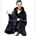CX-B-P-25B Fox Fur Trim Pashmina Poncho