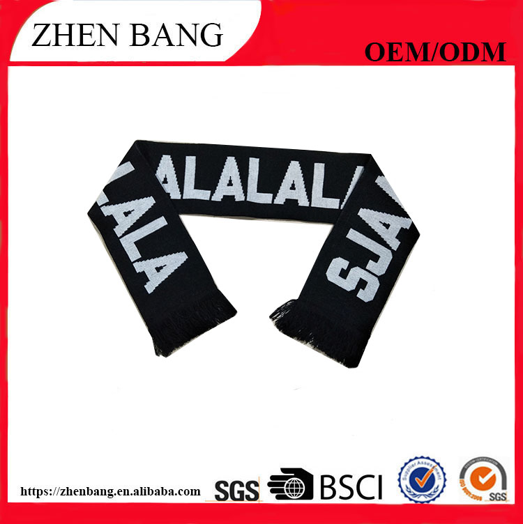 Wool knitting Material Soccer Scarf And Football Fan Scarf
