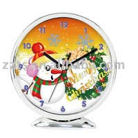 6 inch Christmas style promotional plastic table/desk clock