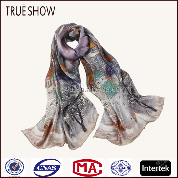 True Show customized The snow castle silk scarf silk scarf wholesale china brand names silk scarf