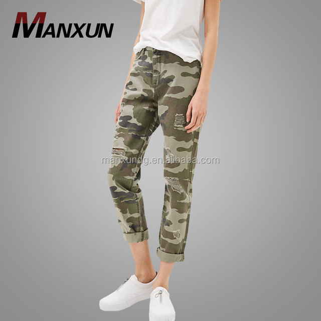 2017 New Fashion Jeans Pants For Woman Custom Fit Jeans With High Waist Cool Camouflage Pants